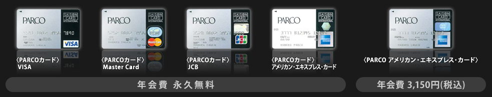 パルコカードの国際ブランド種類